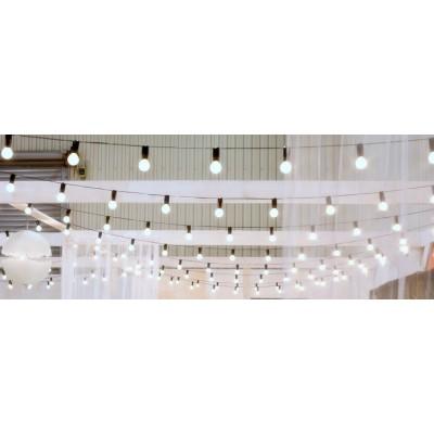 Girlanda żarówkowa 10 m z rozstawem oprawek co 0,5 m